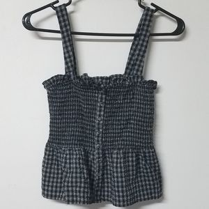 🐄 F21 gingham country farm style top junior's M